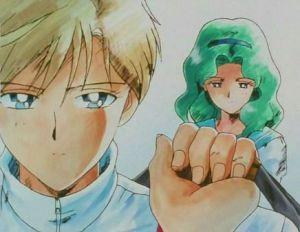 Imagen 01: Haruka y Michiru. Fotograma del ánime de Sailor Moon S.